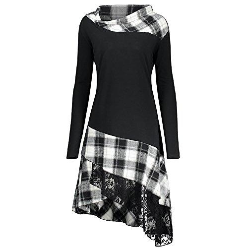 14a78bf3d04 CharMma Women s Plus Size Mock Neck Lace Plaid Panel Long Top Blouses