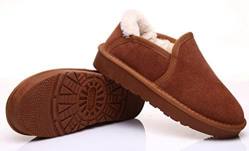 LabatoStyle Women's Ankle Snow Boots Winter Loafers Slip-On Walking Shoes Fur-Lined Brown dHc5MeLK