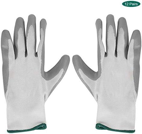 12ペアの安全作業用手袋プロのニトリル耐摩耗性安全手保護作業用手袋