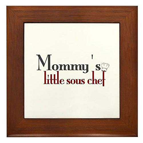 CafePress Mommy's Sous Chef Framed Tile, Decorative Tile Wall Hanging