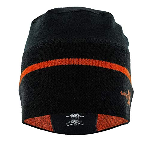 Woolx Unisex Cold Snap Merino Wool Beanie Hat For Men & Women , Black Orange Flame, One Size (Running Wool Hat)