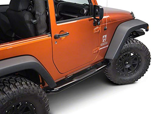 Redrock 4x4 3 in. Round Curved Side Step Bars - Gloss Black - for Jeep Wrangler JK 2 Door 2007-2018