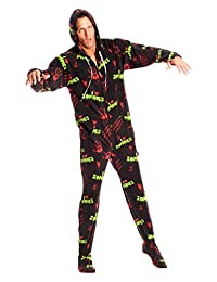 Jumpin Jammerz I Love Zombies Black Adult Footed Onesie Pajamas for Men and Women