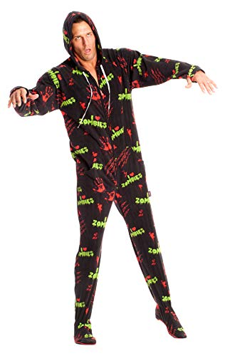 I Love Zombies Black Adult Footed Onesie Pajamas for Men and Women (M) -