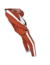 HEFASDM Women Stripe Yoga Zip-Up 2 Piece Long Sleeve Sweatshirt and Long Pants Tracksuit