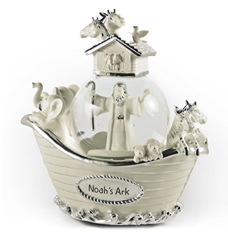 Elephant Tunes (Amazing Ivory and Silver Noah's Ark Musical Snow Globe with 18 Note Tune-Baby Elephant)