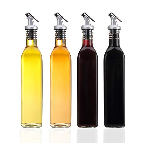 HAIBO Olive Oil Dispenser-4 Pack Oil and Vinegar Dispenser Set(17OZ) Oil and Vinegar Bottle Set with 1 Stainless Steel Funnel and Cleaning Brush Olive Oil Bottle and Vinegar Bottle Glass Set