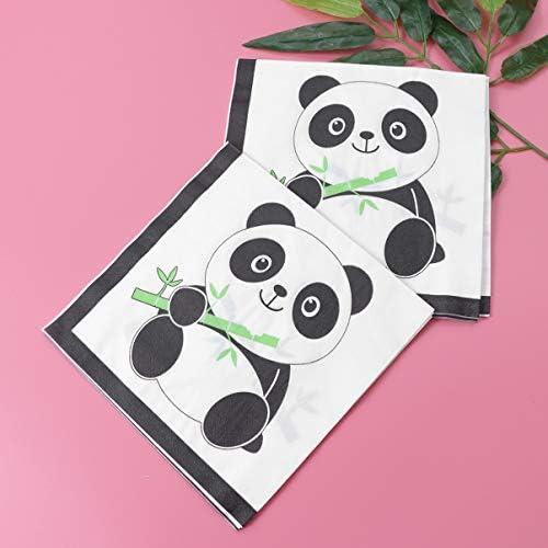 """4 Servietten /""""Panda/"""" 33x33 Napkins Panda Bären Tiere Blätter"""