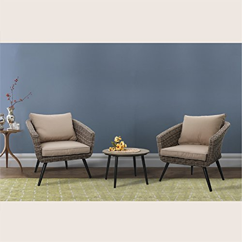 Rattan Round Chair - PHI VILLA 3 Piece Outdoor Patio Brushed Rattan and Gradual Changing Color Wicker Sofa Barrel Chairs and Polywood Round Coffee Table Furniture Set