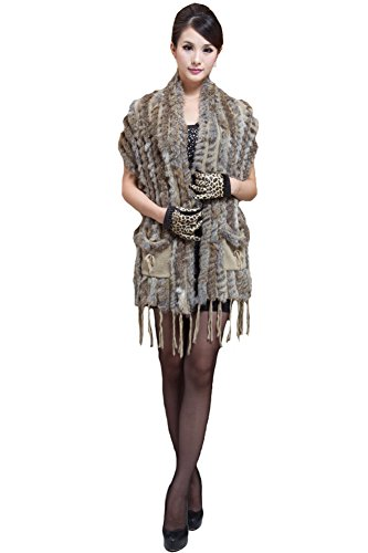 Queenshiny Women's 100% Real Knitted Rabbit Fur Vest Cape-Natural