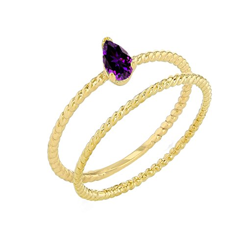 Dainty 10k Yellow Gold Amethyst Pear-Shaped Comtemporary Engagement Rope Ring Set (Size 8.5)