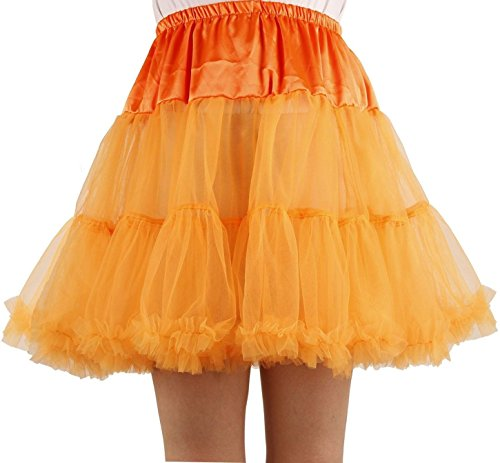 Ponce Fashion Women's Princess Mini Tutu Skirt Short Petticoat - Orange]()