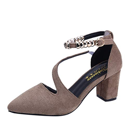 Women Chunky Heel Pumps,Ladies Classic Pointed Toe Square Heel Beads Buckle Casual Comfy Flock Single Shoes