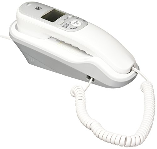 AT&T TR1909 Trimline Corded Phone with Caller ID, White (Wall Corded Telephone)