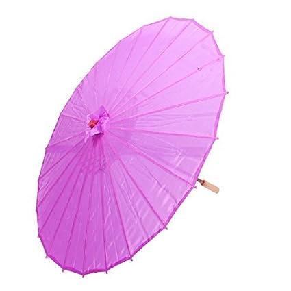 eDealMax bambú japonesa China de Estilo Tradicional Baile manualmente Parasol Umbrella 78cm Dia púrpura