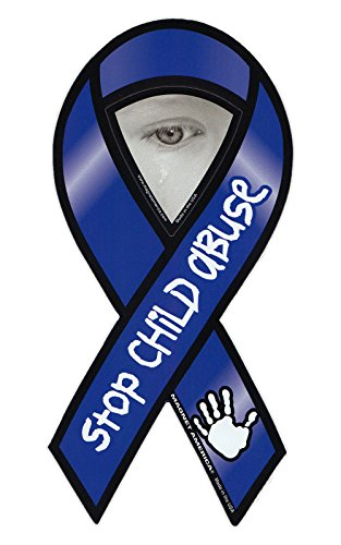 Magnetic Bumper Sticker - Stop Child Abuse - Ribbon Shaped Support Magnet - 4