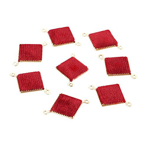 PH PandaHall 10pcs Gold Plated Square Brass Links with Red Velvet Connectors Charms Pendants DIY Earring Jewelry Making - Pave Square Link