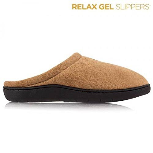 Wellness Relax Gel Slipper Hausschuhe Pantoffeln Gästepantoffeln Farbe braun