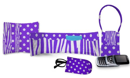 Daisy Kingdom Easy Cut and Sew Accessory Kit, Purple Zebra (Single Face Quilted Cotton Fabric)
