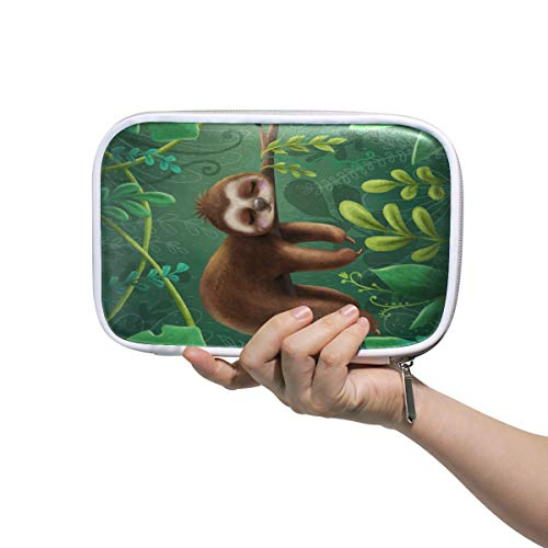 (WXLIFE Tropical Leaves Cute Sloth Print Multi-Functional Zippered Cosmetic Bags Travel Pouch Bag Makeup Passport Holder Storage Pencil Case Pen Bag for Kids Boy Girls School)