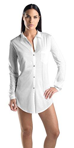 Hanro Women's Cotton Deluxe Boyfriend Sleep Shirt, White, Large by HANRO