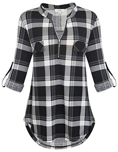 Flannel Plaid Multi - Jdaxiy Womens 3/4 Rolled Sleeve Plaid Shirt Zip V Neck Tunic Top Flannel Casual Blouses (Small, Black-Grey)