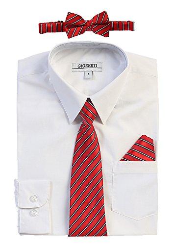Gioberti Boy's Long Sleeve Dress Shirt and Stripe Zippered Tie Set, White, Size 10