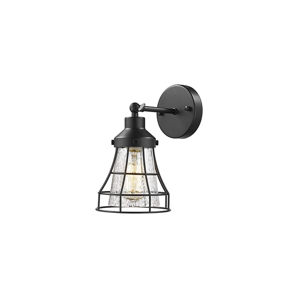 Industrial Metal Cage Wall Sconce - VICNIE Vintage Farmhouse Wall Lamp, 180 Degree Adjustable Wall Lighting Fixture…