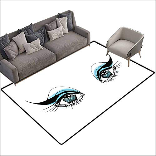 Polyester Non-Slip Doormat Rugs Colorful Eye,Expressive Look of a Woman Without Eyebrows Artistic Blue and Black Make Up,Pale Blue Black White 80