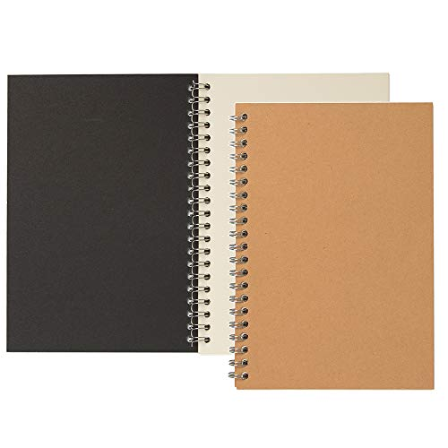 YiTai Soft Cover Spiral Sketchpad Notebooks, Blank Sketch Book Pad, Wirebound Memo Notepads Diary Notebook Planner with Unlined Paper, 100 Pages/ 50 Sheets, 7.5