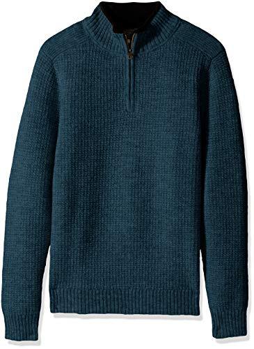 Pendleton Men's Shetland Half-Zip Sweater, Midnight Green, LG
