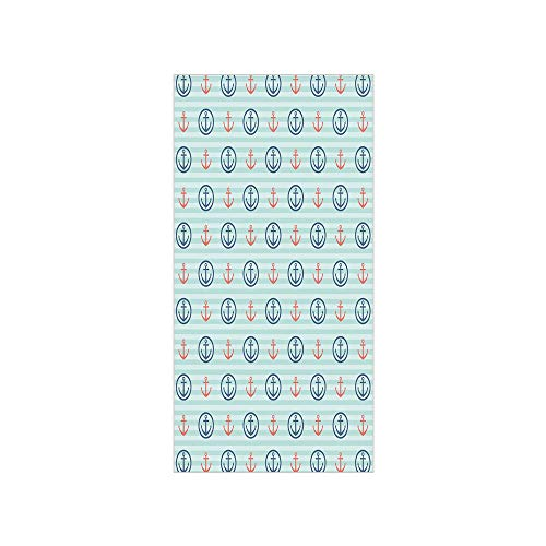 3D Decorative Film Privacy Window Film No Glue,Anchor,Summer Holiday Adventure Horizontal Striped Backdrop with Icons Bon Voyage Decorative,Seafoam Blue Coral,for Home&Office