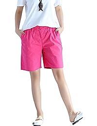 Women Cotton Linen Flax Blend Casual Summer Shorts Pants With Elastic Waist