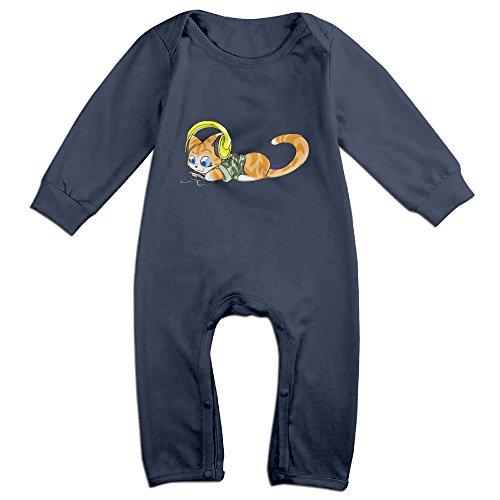 [Haru Cartoon Cat Listening Newborn Babys Long Sleeve Romper Bodysuit Outfits Navy 12 Months] (Minecraft Skin Animal Costume)