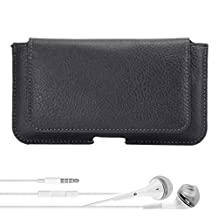 Blackberry Leap / Priv Smartphone Case, Classic Wallet Holster Rugged Leather Case [329] + VG Headphones