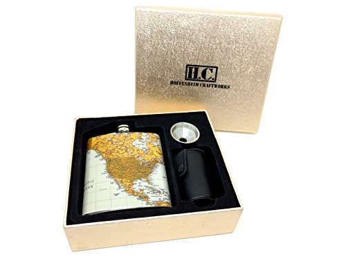 Premium-Hip-Flask-Gift-Set-for-Men-Women-Vintage-World-Map-Style-Stainless-Steel-7-oz-Liquor-Flask-with-Funnel-Cups-and-Carrier