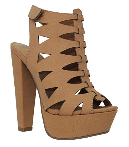 MVE Shoes Women's Open Toe Thick Heel Ankle Velcro Platform Sandal, Tan Size 6
