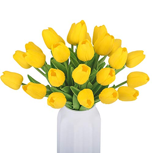 Bomarolan Artificial Tulip Real Touch Fake Holland Mini Tulip Latex Flowers 16 Pcs Eco-Friendly for Wedding Decor DIY Home Party(Yellow)
