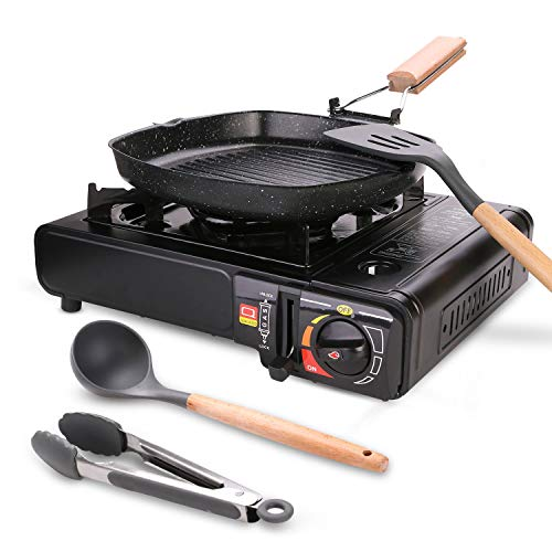 Odoland 6 pcs Camping Stove Set with Camping Cookware
