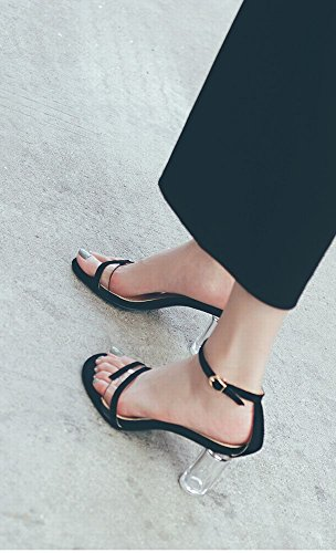 Crystal de avec Transparentes CWJ Wild Talons Noir Shoes Sandales Chaussures Hauts Mot Thick Boucle Fairy à YwYIEqA