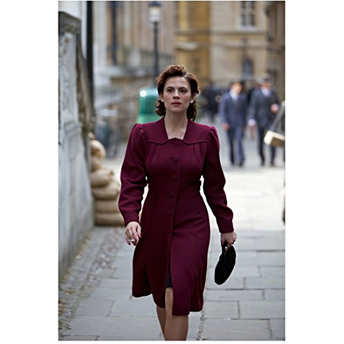 Agent Carter Hayley Atwell as Peggy Carter Walking in Maroon Jacket Holding Black Clutch Purse 8 x 10 inch photo