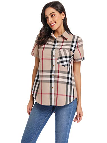 Acloth Womens Short Sleeve Plaid Shirts Button Down Blouse Classic Boyfriend Casual Loose Tops with Pocket(Beige Black,L)
