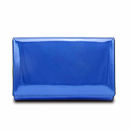 Jieway Women Clutch Purse Mirror Bright Patent Leather Handbags Shoulder Tote Bags (Blue)