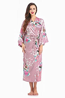 Women's Satin Ankle Length Peacock Floral Robe With Pockets Bridal Blossoms&Peacock Kimono For Wedding Party