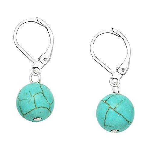 Falari 10mm Round Natural Stone Earring High Polished Rhodium Leverback Turquoise