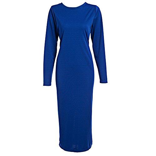 (Leomodo Simple Round Collar Long Sleeve Zipper Design Skinny Women Midi Dress)