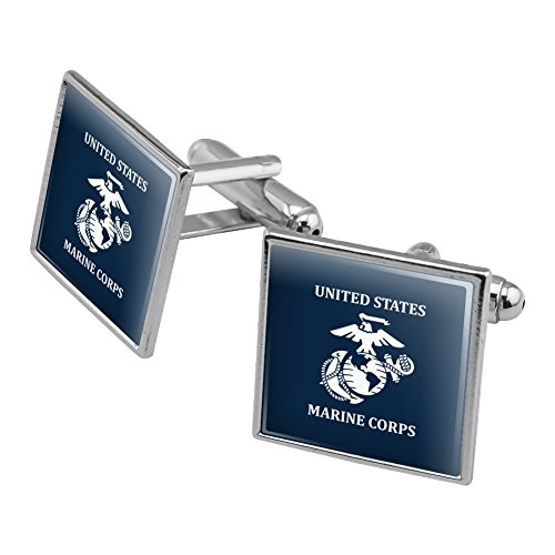 State Logo Square - United States Marine Corps USMC White Blue Logo Officially Licensed Square Cufflink Set Silver Color