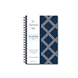 Kahootie Co Undated Daily Planner for Busy Days- keep focused, on task, accomplish top 4 daily to-do's, plan meals and fitness activity in advance, double to-do lists (Navy Diamonds)