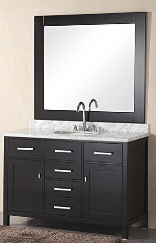 design element dec076c london 48inch single sink vanity set in espresso finish