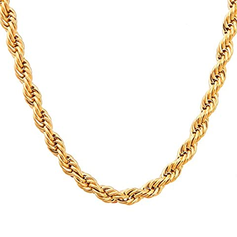 Followmoon 18k Gold Plated Rope Necklace Chain or Bracelet - Your Choice of Color - Width - Length (Chain Necklace Brass)